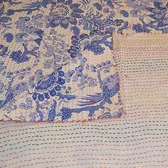 Amazon.com: Indigo Dyed , 2 Layer 100% Organic Cotton Kantha Bedspread ( Full/Queen ): Home & Kitchen