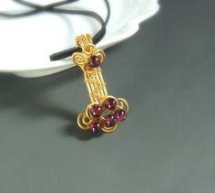Garnet gold pendant 18 k gold plated handmade by VeraNasfaJewelry, $49.00