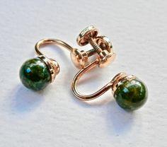 Jade Earrings 12K Gold Fill Retro Screwback Earrings Vintage Jade Asian Jewelry Vintage Jewelry 1950s Regency Green by TheJewelryChain on Etsy