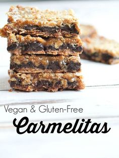 These Carmelitas are the BEST cookie bars ever.  They just happen to be gluten-free, vegan, and totally healthy.  No one will guess this recipe is easy and healthy.  Best treat ever!