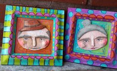 Face in frame!  Grampa and Grammy Mini Sculpture Art by doripatrickart on Etsy