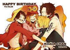 Happy Birthday Koala, Ace, Sabo, Luffy, brothers, Koala, hugging, text; One Piece