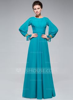 A-Line/Princess Scoop Neck Floor-Length Ruffle Beading Sequins Zipper Up Sleeves Long Sleeves No 2014 Jade Fall General Plus Chiffon Mother of the Bride Dress
