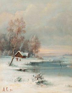 Alexei Savrasov: Coast During Winter (1891) - http://19thcenturyrusspaint.blogspot.com/