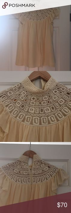 Cream Silk and lace blouse Catherine Malandrino gorgeous Silk blouse size 4, very good condition Catherine Malandrino Tops Blouses