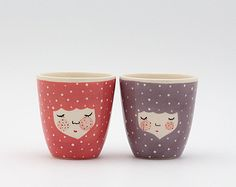 Set of 2 - Handmade ceramic cup - ceramic coffee cup - coffee mug - girl illustration - serveware - tableware - gift idea - MADE TO ORDER