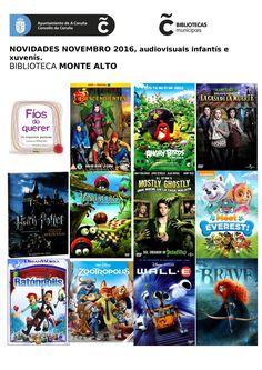 Novos audiovisuais do mes de novembro da sala infantil e xuvenil da Biblioteca Monte Alto.