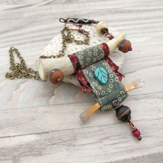 Nomadic Scroll Necklace Silk Wrapped Antler van GypsyIntent op Etsy, $72.00