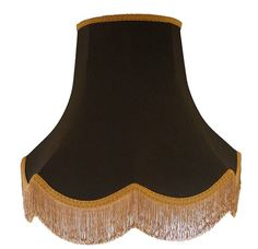 Black Scalloped Fabric Lampshade With Gold Decoration For A