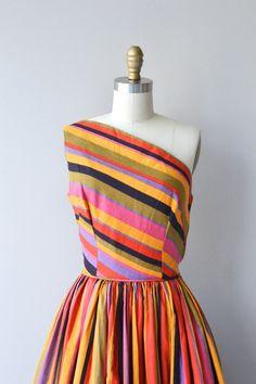 Tangiers Stripe dress vintage 1950s dress striped by DearGolden