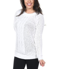White Cable-Knit Scoop Neck Sweater