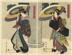 Eizan Japanese Woodblock Print Diptych of Edo Beauties | eBay
