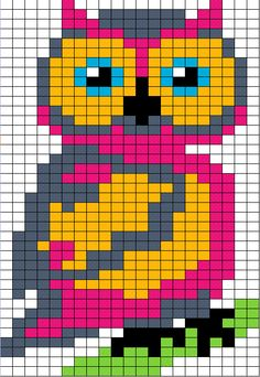 Knitting charts owl perler beads 19 ideas for 2019 Cross Stitch Owl, Beaded Cross Stitch, Cross Stitch Animals, Cross Stitching, Cross Stitch Embroidery, Cross Stitch Patterns, Owl Patterns, Bead Loom Patterns, Canvas Patterns