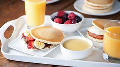 Sweet and savory breakfast sandwiches that start with a batch of golden pancakes!