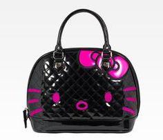 Hello Kitty Black City Patent Handbag: Embossed