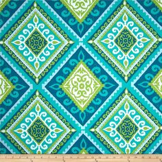 Terrasol Indoor/Outdoor Spanish Tile Peacock from @fabricdotcom  This great outdoor fabric is stain and water resistant, perfect for outdoor settings and indoors in sunny rooms. It is fade resistant up to 500 hours of direct sun exposure.