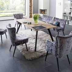 Tisch Monza (Nußbaum & Eiche) Armchair Kate / Stuhl Kate (100 verschiedene Stoffe und Farben) - Yelp Teak, Dining Table, Interior, Furniture, Home Decor, Family Dining Rooms, Dinner Room, Cantilever Chair, Armchair