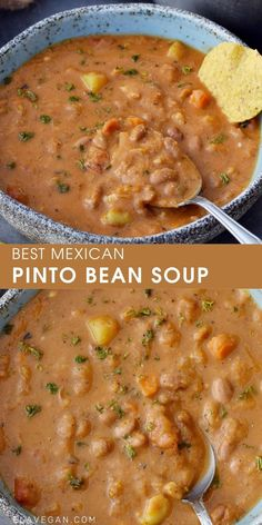 This easy Mexican pinto bean soup is hearty, and packed with flavor! The recipe is dairy-free, vegetarian (vegan), low-cost, and low-fat! Chili Recipes, Mexican Food Recipes, Whole Food Recipes, Cooking Recipes, Healthy Recipes, High Protein Vegetarian Recipes, Bean Soup Recipes, Ella Vegan, Pinto Bean Soup