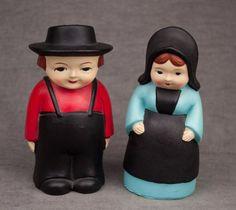 ceramic AMISH COUPLE man woman wife SALT & PEPPER SHAKERS chalkware?