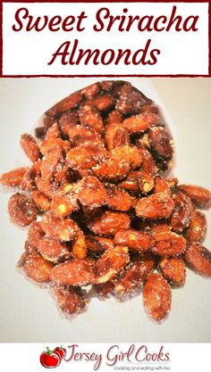 Sweet Sriracha Almonds are a little sweet & a little spicy. This roasted almonds recipe is good party food or snacks. These small bites are addicting! Best Appetizer Recipes, Supper Recipes, Best Appetizers, Holiday Appetizers, Nut Recipes, Almond Recipes, Snack Recipes, Yummy Recipes, Vegetarian Recipes