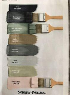 24 Ideas For Farmhouse Paint Colors Pottery Barn 24 Ideas For. - 24 Ideas For Farmhouse Paint Colors Pottery Barn 24 Ideas For Farmhouse Paint Co - Green Paint Colors, Interior Paint Colors, Paint Colors For Home, Wall Colors, Colours, Sage Green Paint, Interior Painting Ideas, Interior Colour Schemes, Home Painting Ideas