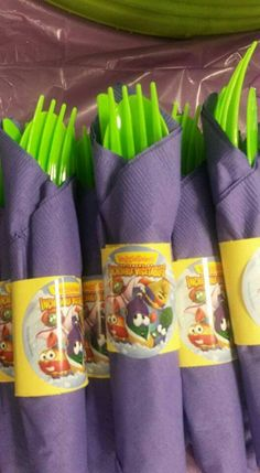 Larry Boy veggie tales party. I cut strips of construction paper and wrapped the silverware with napkin and fastened with stickers I bought from www.veggietales.com . You could change this to another VeggieTales theme based on the sticker set you bought. 200 for about $3.