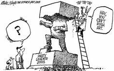 editorial cartooning about leadership 'hey, no puedes apresurar el arte'