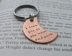 I love you to the moon and back key chain copper guess how much i love you keychain keyfob unisex #moon #handmade