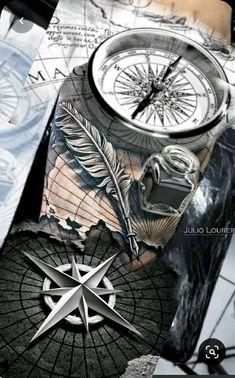 Arm Tattoos For Guys Forearm, Cool Arm Tattoos, Full Sleeve Tattoos, Tattoo Sleeve Designs, Tattoo Designs Men, Black And Grey Tattoos, Scary Tattoos, Map Tattoos, Arrow Tattoos