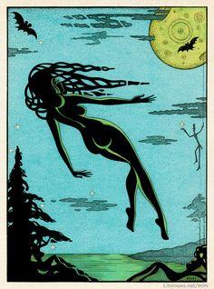 Beautiful vintage Witch night artwork. Иллюстрации к «Мастеру и Маргарите»: Иллюстрации Юрия Смирнова