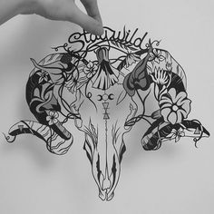 `Don`t let them tame you` because once upon a time you came from the earth and the stars, from the dust and the dirt, from the never ending cycle of the universe... #skull  #ramskull #skullart #papercutting #art #art_spotlight #art_we_inspire #magic #alchemy #symbol #life #death #flowermagic #wild #graphicdesign #illustration #followme #photooftheday