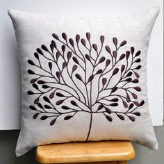 Borneo Tree Throw Pillow Cover - Decorative Pillow Cover - Linen Pillow Cover with Dark Brown Tree - Embroidered Pillow Cover Cute Cushions, Diy Pillows, Linen Pillows, Throw Pillows, Diy Pillow Covers, Decorative Pillow Covers, Embroidered Cushions, Flower Pillow, Fabric Painting