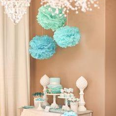 Tissue Paper Pom Poms - Blue - Set of 5- $18.99