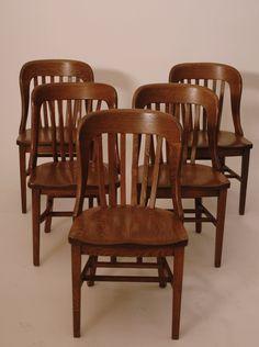 Art Deco Dining / Accent Oak Chairs Set of 5 - Harrington Galleries