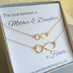 Mother Daughter Jewelry Set, Infinity Necklace Set, Gold Infinity Charm, Christmas Gift, Unique Gift, Birthday Gift, $55.00