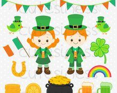 St Patrick's Clipart St Patrick's Day Clipart St by Cutesiness Sant Patrick, St Patricks Day Clipart, St Patrick's Day Crafts, Circus Party, Cute Images, Leprechaun, Girl Cartoon, Clip Art, Kids Rugs