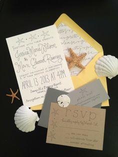 Beach Shore Destination Wedding Invitation Suite by GreySnailPress, $5.50