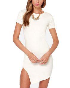 White Knit Side Split Asymmetrical Hem Short Dress