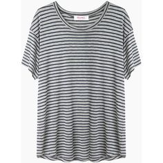 Organic by John Patrick Striped Short Sleeve Tee ($132) ❤ liked on Polyvore featuring tops, t-shirts, shirts, tees, t shirts, navy shirt, crew neck t shirt, navy blue shirt and striped shirt