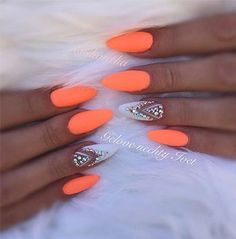 Want some ideas for wedding nail polish designs? This article is a collection of our favorite nail polish designs for your special day. Neon Nail Colors, Neon Nails, Pink Nails, Colorful Nail Art, Orange Nail Art, Orange Nail Designs, Neon Orange Nails, Nail Swag, Gorgeous Nails