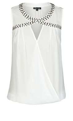 City Chic - SLEEVELESS METALLIC STUD TOP - Women's Plus Size Fashion