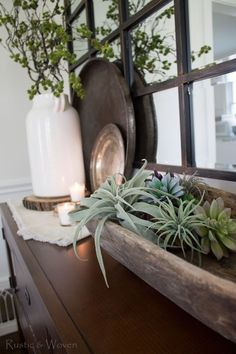 Faux-succulents-in-an-antique-dough-bowl---Rustic-and-Woven