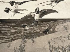 """amare-habeo: """" Klemens Brosch (Austrian, At the Beach, 1913 Pen and ink, wash, x 41 cm """" Nicholas Roerich, Caspar David Friedrich, Andrew Wyeth, Rene Magritte, Vincent Van Gogh, Filmmaking, Painting & Drawing, Poster, Drawings"""
