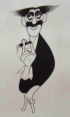 "Al Hirschfeld ~ David Garrison as Groucho Marx in ""A Day in Hollywood/A Night in the Ukraine"" Groucho Marx, Harpo Marx, Sammy Davis Jr, Caricature Artist, Caricature Drawing, John Wayne, Satire, Celebrity Caricatures, Celebrity Drawings"