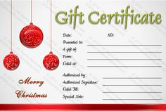 Christmas Template For Word Printable Christmas Gift Certificate Template  Salon  Pinterest .