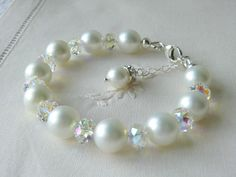White Pearl Bracelet Swarovski Crystal Jewelry Bridal Jewelry Bridesmaids Jewellry Flower Girls Gifts Christening gifts Classic Wedding