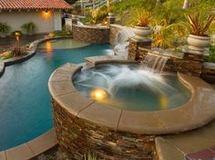jacuzzi, pool, fountain, landscape  built by Blue Pacific Pools, check out our website for more! http://www.bluepacificpools.com/index.html