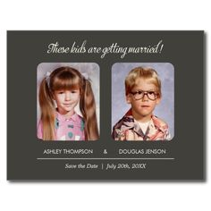 "Childhood Photos Save the Date Invitation Childhood Photos Save the Date with a warm gray design. Upload your old childhood photos and add your text. The text reads: ""These kids are getting married! Save The Date Invitations, Save The Date Postcards, Save The Date Cards, Wedding Invitations, Custom Postcards, Wedding Save The Dates, Our Wedding, Dream Wedding, Perfect Wedding"