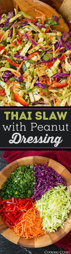 Thai Slaw with Peanut Dressing - easy side dish that's perfect with grilled chicken! Love this dressing!!