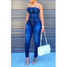 USD14.99Trendy Strapless Single-breasted Design Blue Cotton Blends One-piece Skinny Jumpsuits